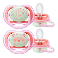 Philips Avent Empeng Bayi -Twin Pack Pacifier Ultra Air Night 6-18m - Girl-Pink