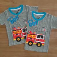 Baju Kaos Atasan Anak Laki Laki Fire Truck Mobil Pemadam Damkar Abu - Ukuran Usia 1