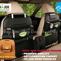 Car Seat Organizer Leather / Rak Gantung Jok Mobil Bahan Kulit - Hitam