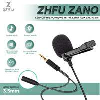 ZHFU ZANO CLIP ON MICROPHONE MIC SPLITTER 3.5MM AUX MIKROFON 2 IN 1