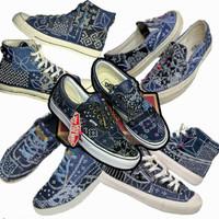 Custom Sashiko Bandana Boro Indigo Dyed Sneakers Shoes Sepatu Handmade
