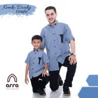 Baju Koko Couple Arra Dzaky Kemko Pakaian Muslim Pria Anak Laki Laki - Blue, S Ayah