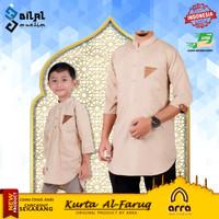 Baju Koko Muslim Couple Ayah dan Anak Kurta Pakistan Al Faruq Arra - Cokelat, L Dewasa