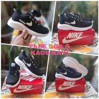 Sepatu Jogging Anak Nike Hitam Sepatu Sekolah / Free Box & Kaos Kaki