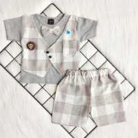 Baju setelan kemeja Rompi celana 3-9 bulan anak bayi laki-laki cowok