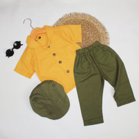 CARRA SET - Baju Setelan Anak Linen Cewek Cowok - Kuning - Army, S
