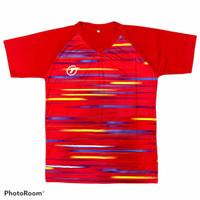 Kaos / stelan olahraga printing badminton pria wanita dewasa 016 - KAOS MERAH, M
