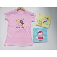 Baju T-shirt Perempuan Kaos Anak Remaja ABG Cewek Campur Motif B