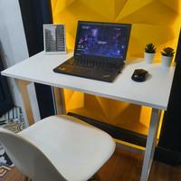 DC - Meja Lipat Portable - Meja Kerja - Meja belajar - Meja Leptop - Alumunium Putih, S - 75x40x80cm