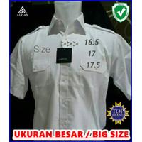 Baju kemeja pria alisan putih lengan pendek pangkat jumbo ukuran besar