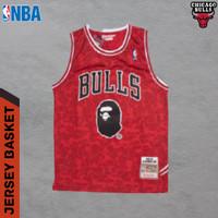 JERSEY BASKET NBA BAJU BASKET NBA CLASSIC CHICAGO BULLS x BAPE - S