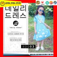 HOOFLA Kids - Kaos DRESS Anak Perempuan - Daily Dress Anak Lucu HDD 03 - Biru Muda, XS