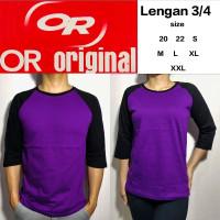 Kaos Raglan polos ungu lengan hitam 3/4 XXS(20) XS(22) S M L XL XXL