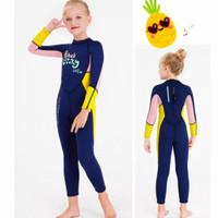 Baju Renang Diving Dive and Sail Neoprene 2,5mm UV-Lengan Ungu Impor - Lengan Kuning, M