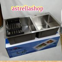 sink/bak cuci piring kotak minimalis 2 lubang +peniisir piring