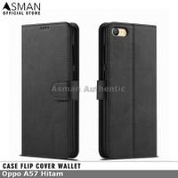 Asman Case Oppo A57 Leather Wallet Flip Cover Premium Edition - Hitam