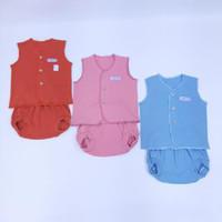 setelan baju bayi new born lengan kutung polos (3 pcs)