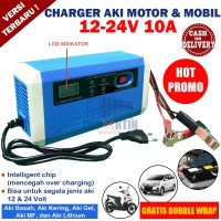 Charger Cas Aki Portable 12V-24V 10A Mobil dan Motor LCD Intelligent