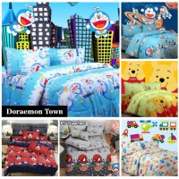 Vige Bedcover Saja Katun Motif Doraemon Town   Bad Cover Motif Dora