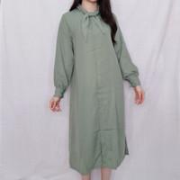 Baju pakaian kemeja dress korea style lengan panjang - Hijau