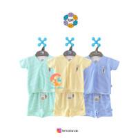 NOVA Setelan Baju Bayi Lengan Pendek + Celana Pendek Motif 0-3 Bulan