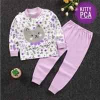 IMPORT Setelan Anak Perempuan 0-9 Thn Piyama Bayi Cewek Katun Premium - Kitty, 80