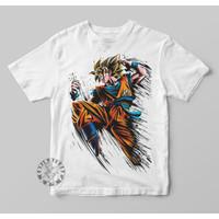 Kaos Anak Baju Anak Anime Dragon Ball Goku Attack Pakaian Anak Anime - Putih, S