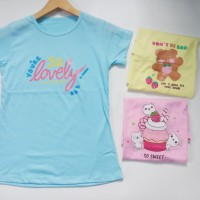 Baju T-shirt Perempuan Kaos Anak Remaja ABG Cewek Campur Motif F