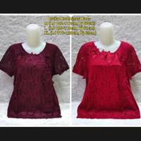 Laris Blouse Brukat Import/Baju Atasan Orangtua S1330 - Merah Marun, M
