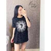 Baju Kaos Wanita Lengan Pendek Bahan Cotton Combed 30s Ukuran L XXL - Hitam, L