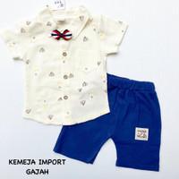 baju setelan anak bayi laki kemeja putih 3 4 5 6 7 8 9 10 11 bulan