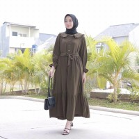 Baju Muslim Wanita Terbaru 2021 Gamis Wanita Modern Jumbo Murah - Army, S