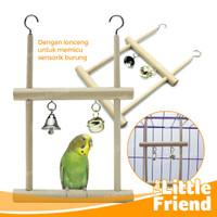Mainan Kandang Burung Lovebird Parrot Ayunan Dua Tingkat & Lonceng - Dua Tingkat