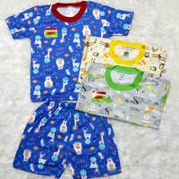setelan baju bayi uscita print KB pendek ( 3 stel ) seri warna