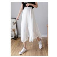 Korean Pants Celana Panjang Korea Celana Kulot Wanita Culotte Pants - Black, S