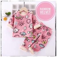 IMPORT Piyama Anak Perempuan 0-9 Thn Setelan PP Baju Tidur Bayi Cewek - Rainbow Velvet, 80