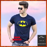 Baju Kaos Batman Superhero Pria Wanita Dewasa Biru Navy Size S M L XL - S