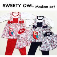 Sweety Owl Moslem Set / Gamis Bayi / Hijab Bayi / Baju Muslim Bayi