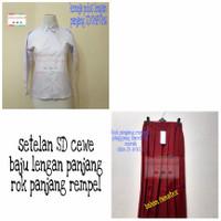 Setelan SD merah putih baju panjang Rok panjang karet - Kelas 1