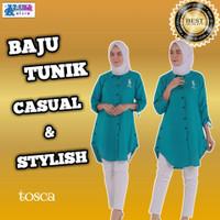 Baju Tunik Wanita Atasan Remaja Terbaru Kekinian Warna Tosca Allsize