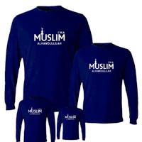 Kaos couple keluarga motif islami/ tshirt lengan panjang muslim untuk - ANAK, S