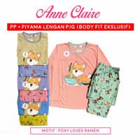 Piyama Babydoll Anne Claire Lengan Panjang - Celana Panjang Bodyfit