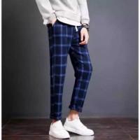 celana tartan pria motif kotak kotak bahan semi wool/celana kotak pria