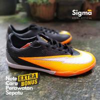 Sepatu futsal Nike Mercurial untuk pria dewasa berkualitas & murah - Hitam Orange, 38