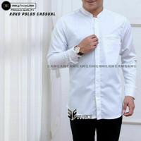 baju koko lengan panjang dewasa polos seragam hadroh koko elrumi - Putih, M