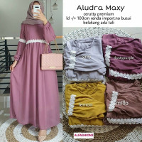 Baju Gamis Wanita Muslim Aludra Maxi Dress Ceruty Babydoll Renda Busui