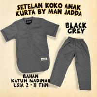 baju setelan koko anak katun madinah - setelan kurta pakistan anak - black grey, S 2-3 thn