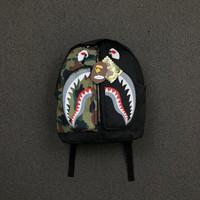 Tas Backpack Ransel Bape Half Camo Zipper Shark Face