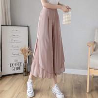 Celana Kulot Wanita Shira Layer Pleated Cullote Pants Jumbo Impor Mura