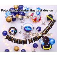 Set paket balon ulang tahun astronot roket LED dekorasi birthday anak - Tanpa lampu led
